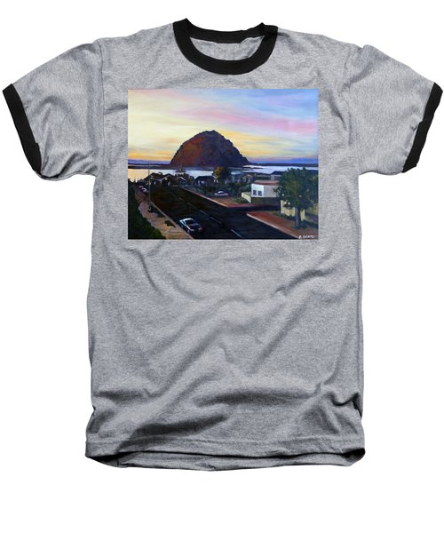 Morro Rock At Night Baseball T-Shirt