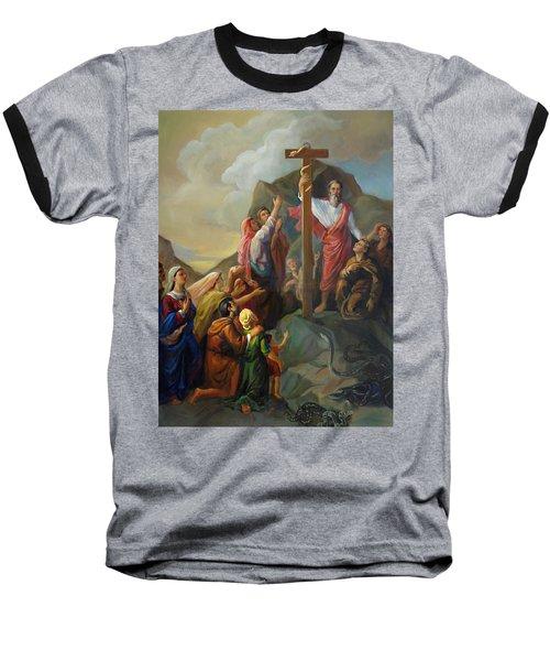 Moses And The Brazen Serpent - Biblical Stories Baseball T-Shirt