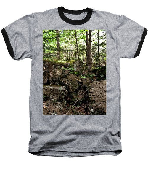 Mossy Rocks In The Forest Baseball T-Shirt