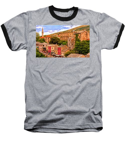 Baseball T-Shirt featuring the painting Mostar by Michael Pickett