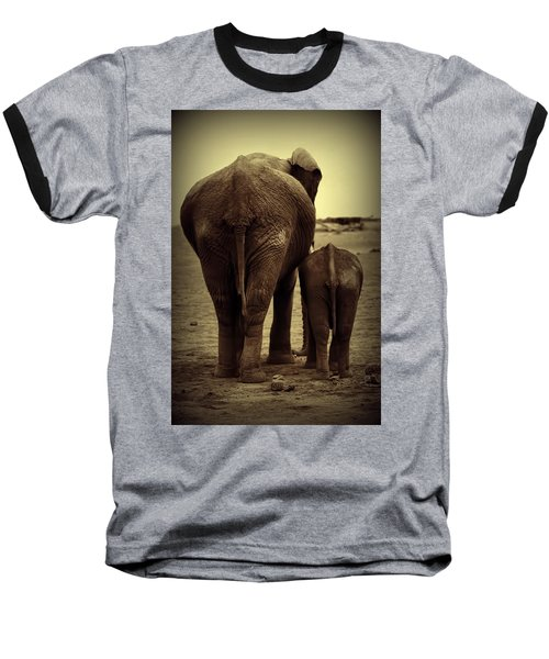Mother And Baby Elephant In Black And White Baseball T-Shirt