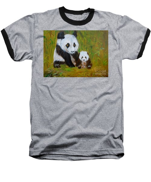 Baseball T-Shirt featuring the painting Mother And Baby Panda by Jenny Lee