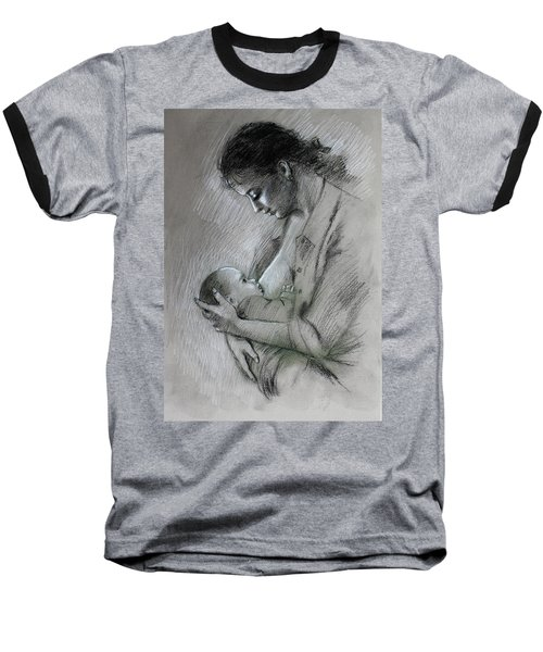 Baseball T-Shirt featuring the drawing Mother And Baby by Viola El