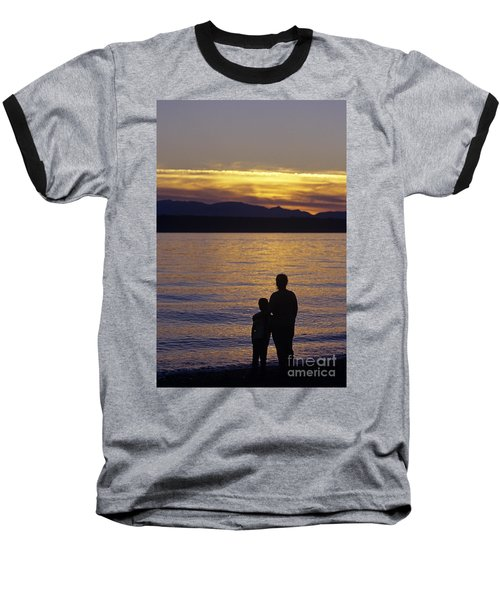 Mother And Daughter Holding Each Other Along Edmonds Beach At Su Baseball T-Shirt