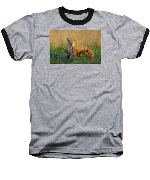 Mother Fox And Kits Baseball T-Shirt