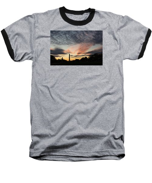 Mother Nature Painted The Sky Over Washington D C Spectacular Baseball T-Shirt by Georgia Mizuleva