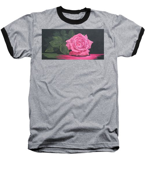 Baseball T-Shirt featuring the painting Mothers Day Rose by Wendy Shoults