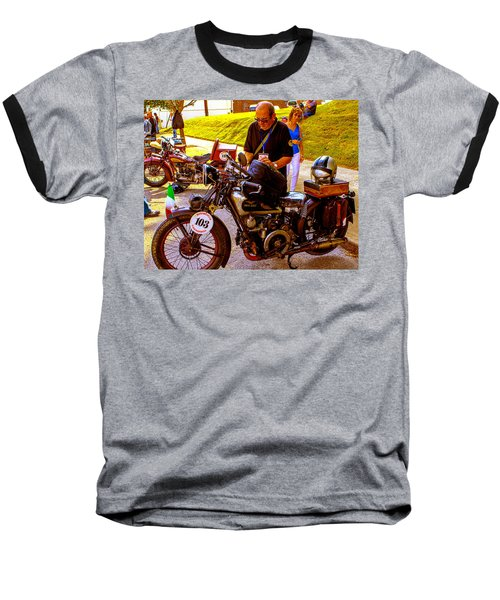 Moto Guzzi At Cannonball Motorcycle Baseball T-Shirt