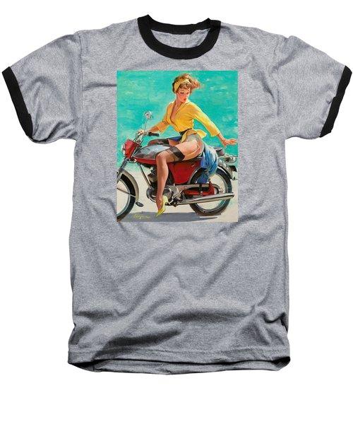 Motorcycle Pinup Girl Baseball T-Shirt by Gil Elvgren