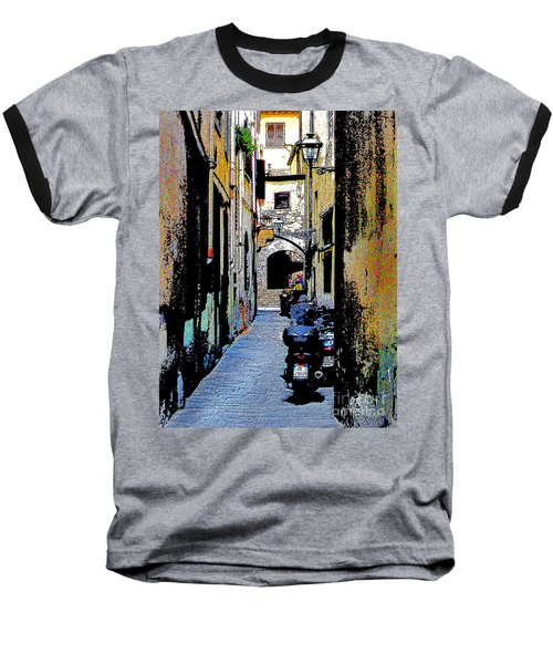 Baseball T-Shirt featuring the digital art Motorcyle In Florence Alley by Jennie Breeze
