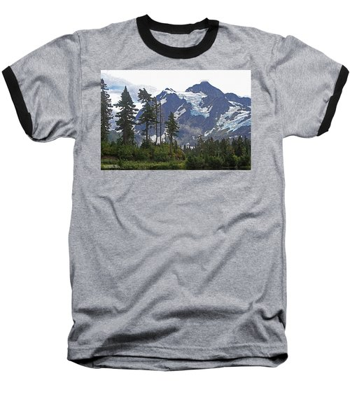 Baseball T-Shirt featuring the photograph Mount Baker And Fir Trees And Glaciers And Fog by Tom Janca