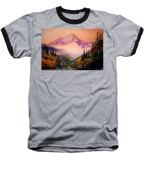 Baseball T-Shirt featuring the painting Mount Baker Morning by Sherry Shipley