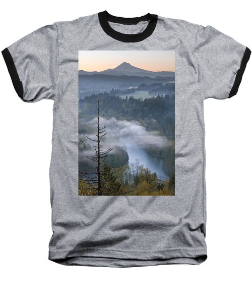 Baseball T-Shirt featuring the photograph Mount Hood And Sandy River At Sunrise by JPLDesigns