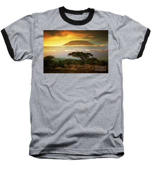 Mount Kilimanjaro Savanna In Amboseli Kenya Baseball T-Shirt