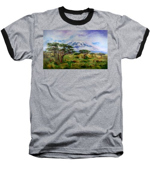 Baseball T-Shirt featuring the painting Mount Kilimanjaro Tanzania by Sher Nasser