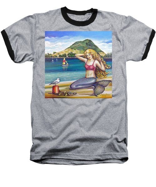 Baseball T-Shirt featuring the painting Mount Maunganui Beach Mermaid 160313 by Selena Boron