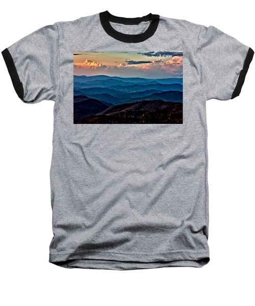 Mount Mitchell Sunset Baseball T-Shirt by John Haldane