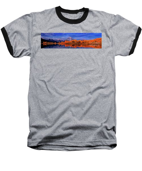 Mount Moran And Fall Color Grand Tetons Baseball T-Shirt by Dave Welling