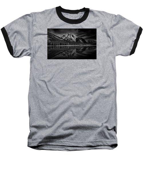 Mount Moran In Black And White Baseball T-Shirt by Raymond Salani III