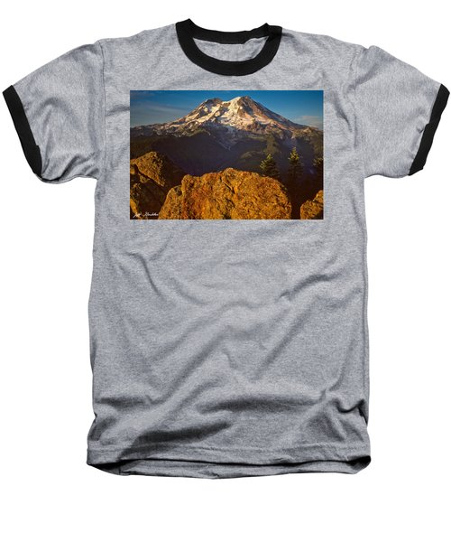 Baseball T-Shirt featuring the photograph Mount Rainier At Sunset With Big Boulders In Foreground by Jeff Goulden