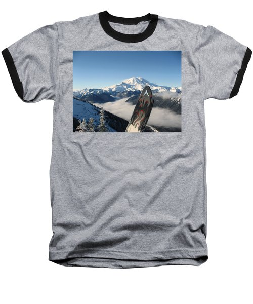 Mount Rainier Has Skis Baseball T-Shirt by Kym Backland
