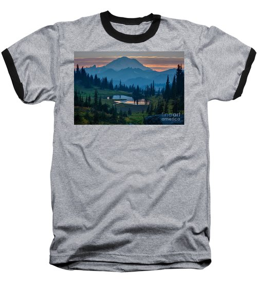 Mount Rainier Layers Baseball T-Shirt by Mike Reid