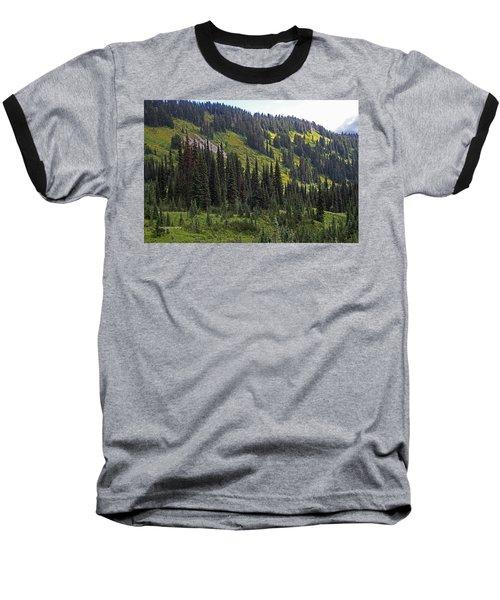 Baseball T-Shirt featuring the photograph Mount Rainier Ridges And Fir Trees.. by Tom Janca