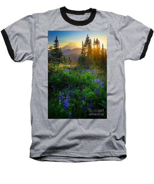 Mount Rainier Sunburst Baseball T-Shirt