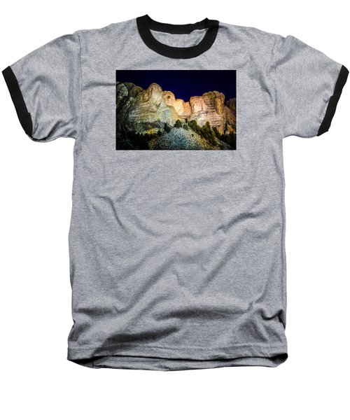 Baseball T-Shirt featuring the photograph Mount Rushmore At Night by Penny Lisowski