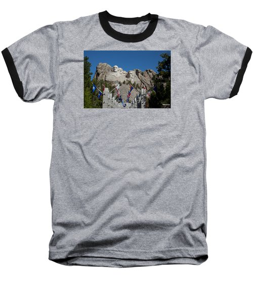 Mount Rushmore Avenue Of Flags Baseball T-Shirt