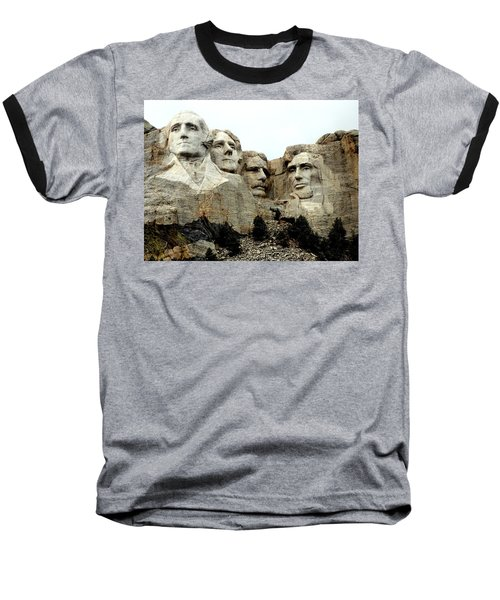 Mount Rushmore Presidents Baseball T-Shirt by Clarice  Lakota