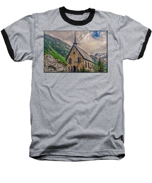 Baseball T-Shirt featuring the photograph Mountain Chapel by Hanny Heim