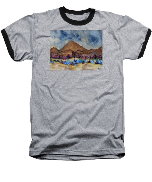 Baseball T-Shirt featuring the painting Mountain Desert Scene by Connie Valasco