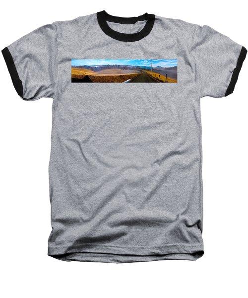 Mountain Farm Panorama Version 2 Baseball T-Shirt by Tom Culver
