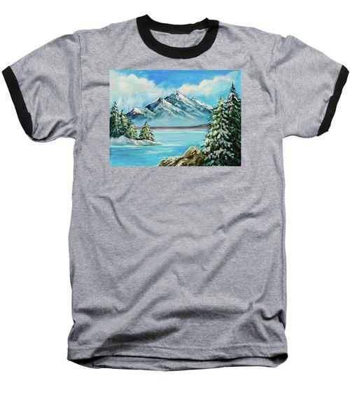 Baseball T-Shirt featuring the painting Mountain Lake In Winter Original Painting Forsale by Bob and Nadine Johnston