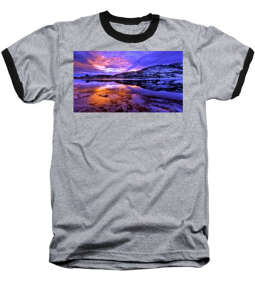 Baseball T-Shirt featuring the painting Mountain Lake Sunset by Bruce Nutting