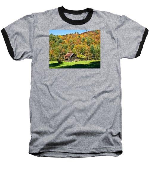Baseball T-Shirt featuring the photograph Mountain Log Home In Autumn by Susan Leggett