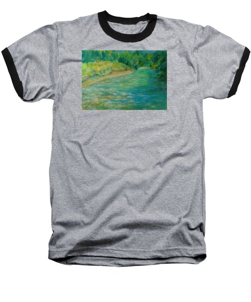 Mountain River In Oregon Colorful Original Oil Painting Baseball T-Shirt