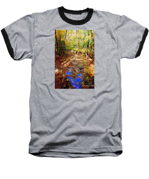 Mountain Stream Covered With Fall Leaves Baseball T-Shirt by Eunice Miller
