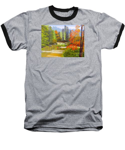 Baseball T-Shirt featuring the painting Mountain Stream by Pamela  Meredith