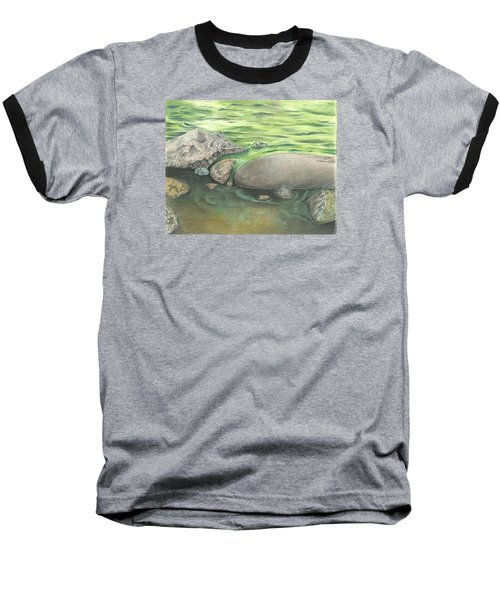 Baseball T-Shirt featuring the drawing Mountain Stream by Troy Levesque