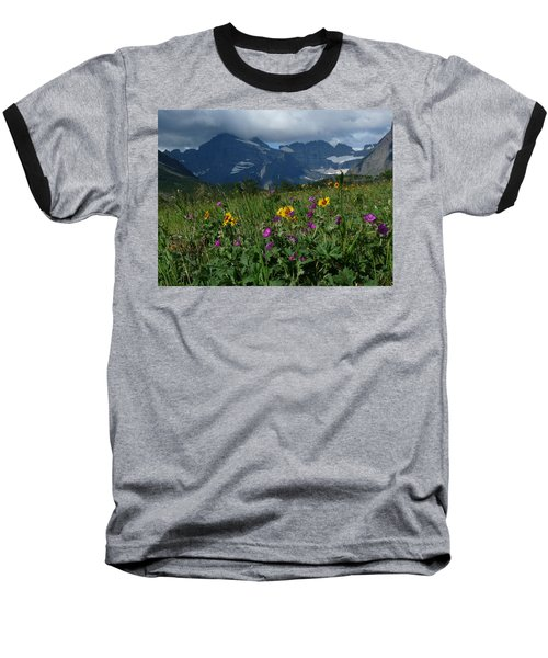 Mountain Wildflowers Baseball T-Shirt by Alan Socolik