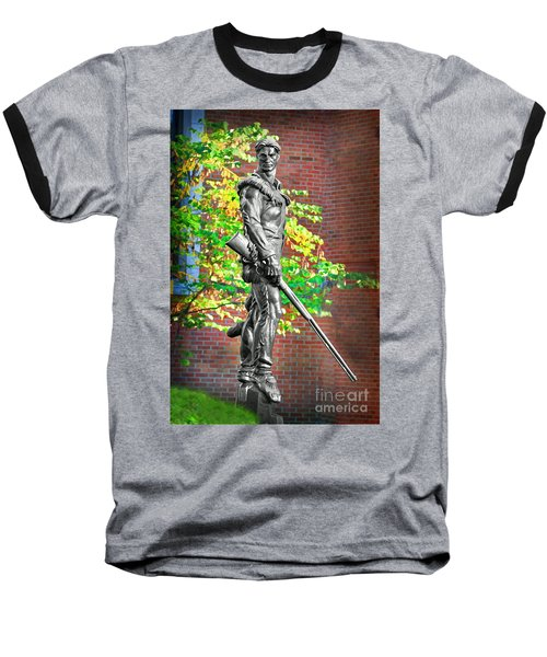 Mountaineer Statue Baseball T-Shirt by Dan Friend