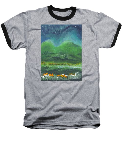 Baseball T-Shirt featuring the painting Mountains At Night by Holly Carmichael