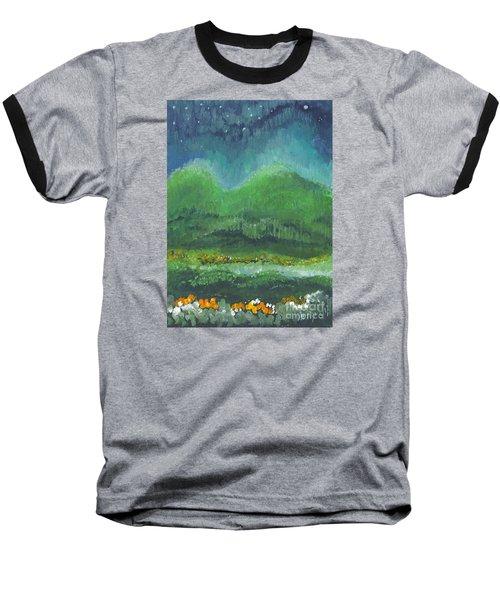Mountains At Night Baseball T-Shirt