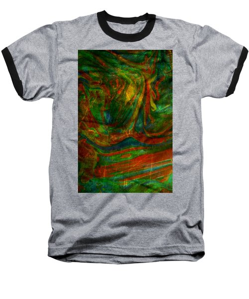 Baseball T-Shirt featuring the mixed media Mountains In The Rain by Ally  White