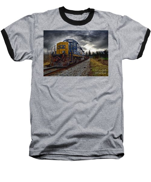 Moving Along In A Train Engine Baseball T-Shirt by Melissa Messick