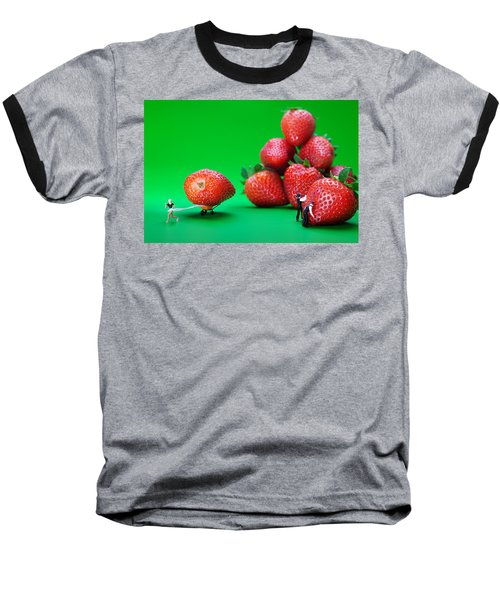 Baseball T-Shirt featuring the photograph Moving Strawberries To Depict Friction Food Physics by Paul Ge
