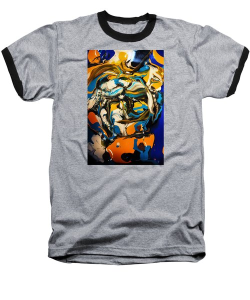 Baseball T-Shirt featuring the painting Mr. Rainbow With A Fried Egg Sunny Side Up by Kicking Bear  Productions