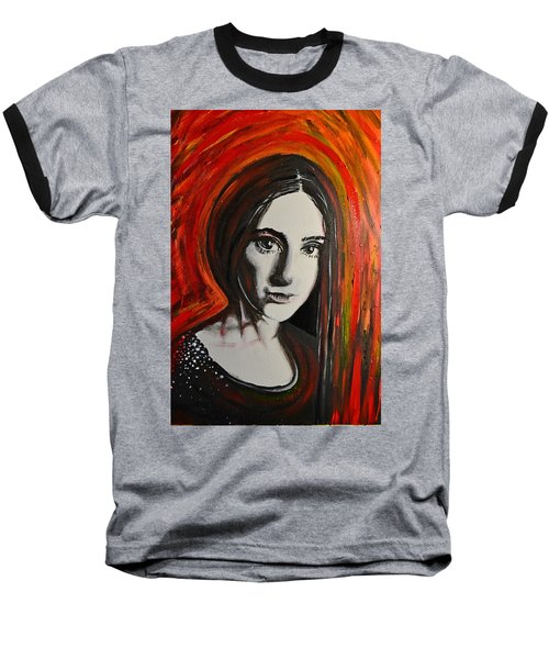 Baseball T-Shirt featuring the painting Portrait In Black #x by Sandro Ramani